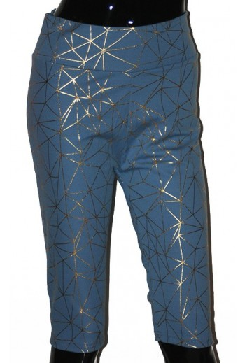 Legging court bleu et or