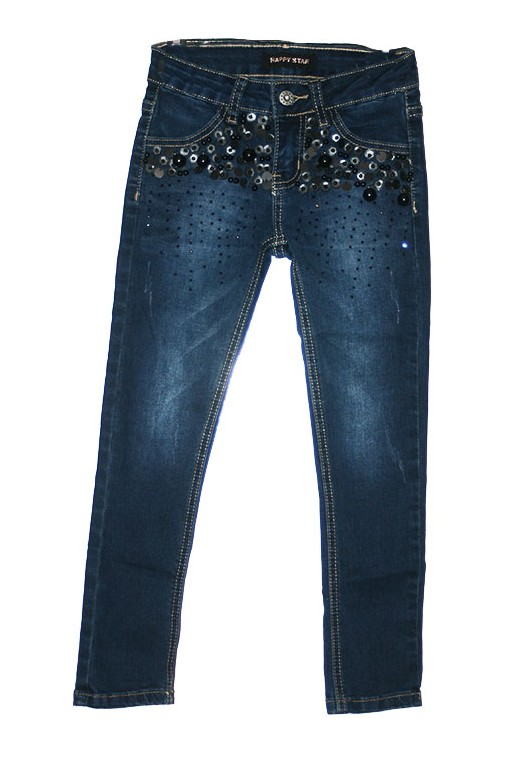 jeans fille perles