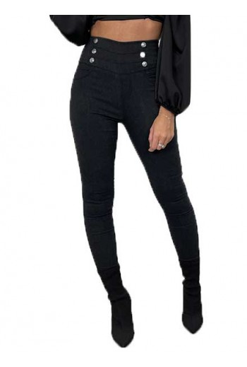jegging jeans boutons fantaisie taille haute